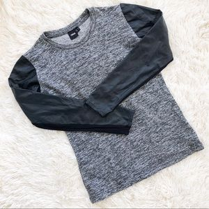 ASOS Gray Faux Leather Sleeve Sweater